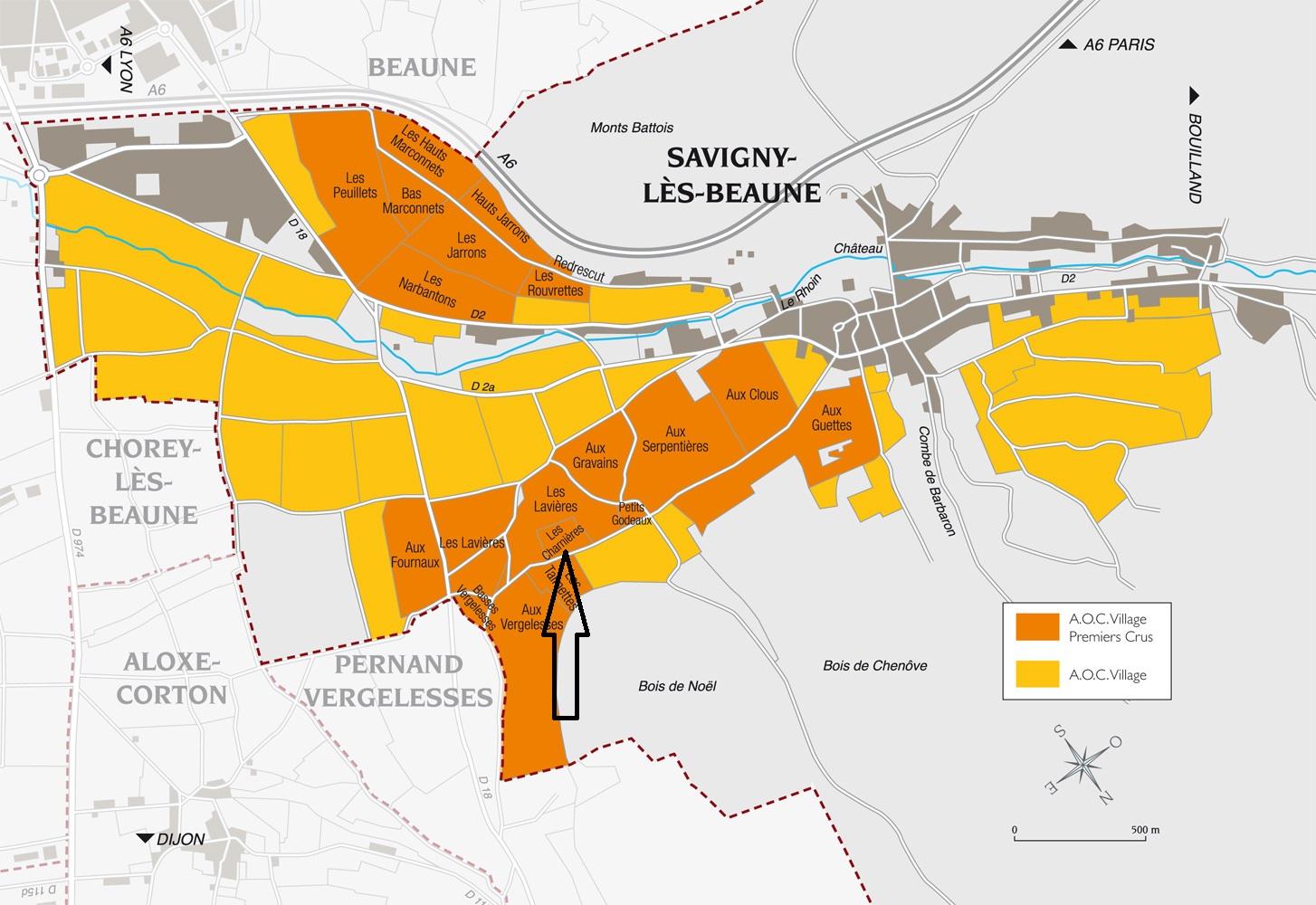 1er Cru Savigny Charnieres parcel on map
