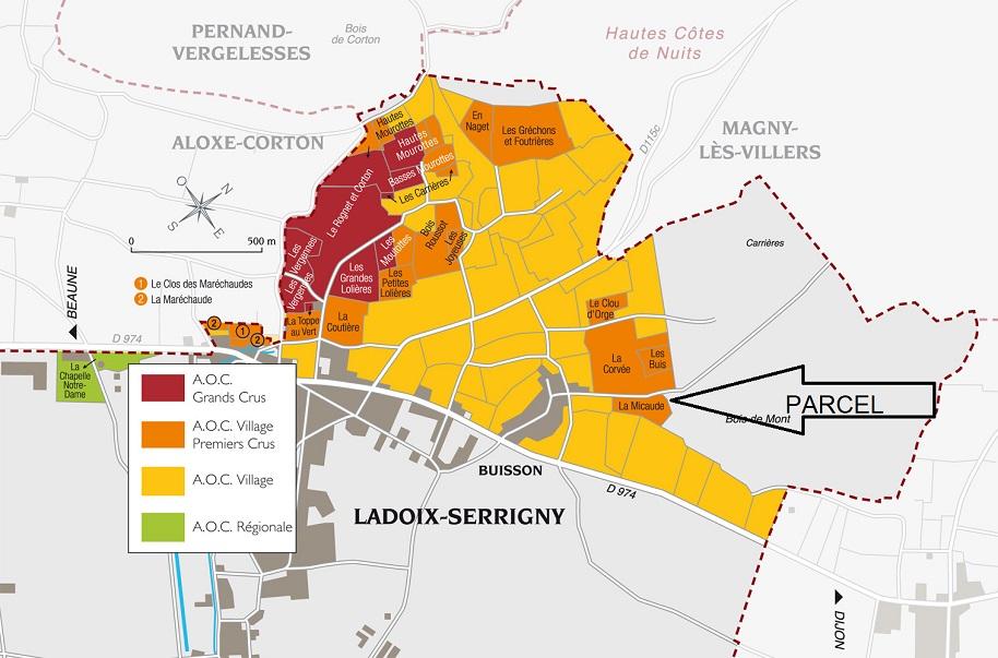 Map of 1er Cru Micaude parcel