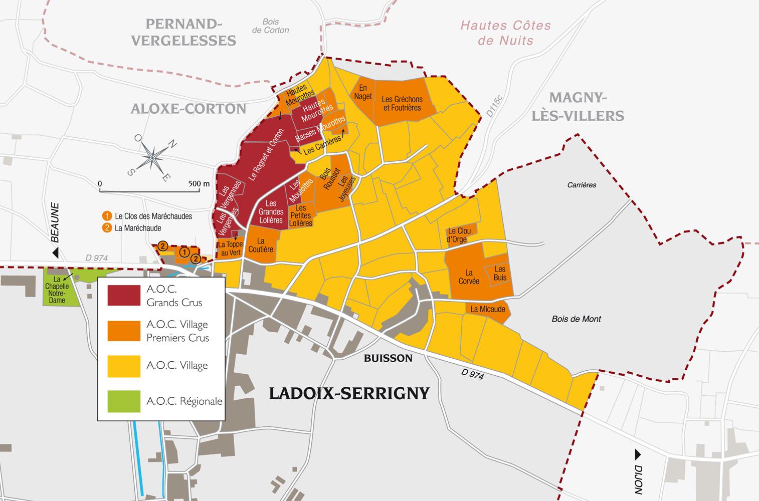 Map of parcel Grechon et Foutrieres